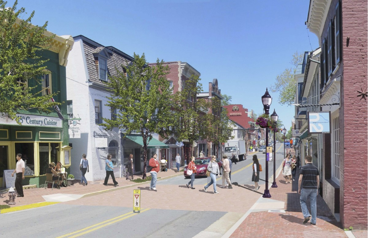 A rendering of the new look planned for Kine Street in downtown Leesburg.