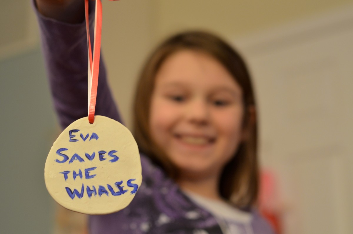 Eva Ulreich creates and sells jewelry, ornaments and other wares to raise money for organizations that protect endangered whales. (Danielle Nadler/Loudoun Now)