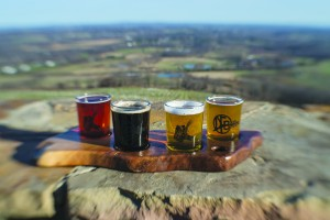 UNITED STATES - December 7, 2015: A sampler platter of beer at Dirt Farm Brewing. Nested in Blue Ridge Mountains 1 mile outside of the village of Bluemont, the family owned and operated farm sits on 100 acres in Loudoun County. The brewery has spectacular easterly views of the Loudoun Valley and also a nice rustic tasting room that was built in the 1940's and has plenty of indoor and outdoor seating. Dirt Farm's focus is brewing small batches of hand crafted beer from fresh ingredients grown on the family farm. (Photo By Douglas Graham/Loudoun Now)