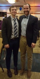 Park View student Trevor Adrus with teacher Michael Vereb at Sunday's Excellence in Education banquet.