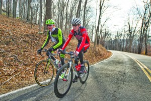 Pro cyclist Justin Mauch and Joe Dombrowski ride across Mt. Weather in the Blue Ridge Mountains of Virginia near Paris. (Photo By Douglas Graham/WLP)
