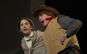 "November 30, 2015: Maria Brock playing Aunt Eller and Brody Brown playing Curly in Loudoun County High School Drama & Choral Department's dress rehearsal of Rodgers & Hammerstein's ""Oklahoma"". The Play opens on December 3rd and runs for three nights. (Photo by Douglas Graham/Loudoun Now)"