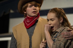 "UNITED STATES - November 30, 2015: Brody Brown playing Curly and Shannon Connors, who plays Laurey in Loudoun County High School Drama & Choral Department's dress rehearsal of Rodgers & Hammerstein's ""Oklahoma"". The Play opens on December 3rd and runs for three nights. (Photo by Douglas Graham/Loudoun Now)"