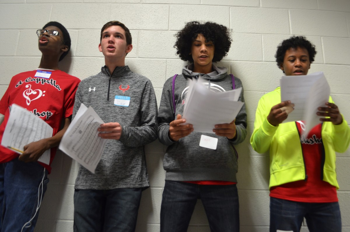 Loudoun high school students rehearse the bass part ahead of a performance Saturday. (Loudoun Now/Danielle Nadler)