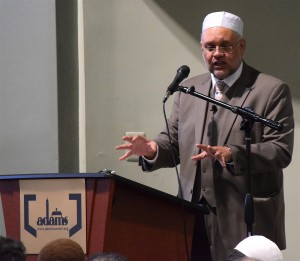 Ibrahim Rasool, the former South African ambassador to the United States, delivers the sermon at the All Dulles Area Muslim Society center in Sterling on Feb. 26, 2016.