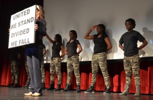 Members of Rock Ridge High School's step team performed at Saturday's event. (Danielle Nadler/Loudoun Now)