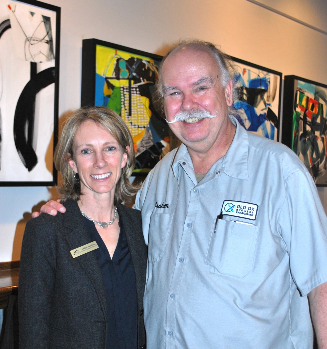 The Chamber's Amber Davidson with Old Ox Brewery's Graham Burns.