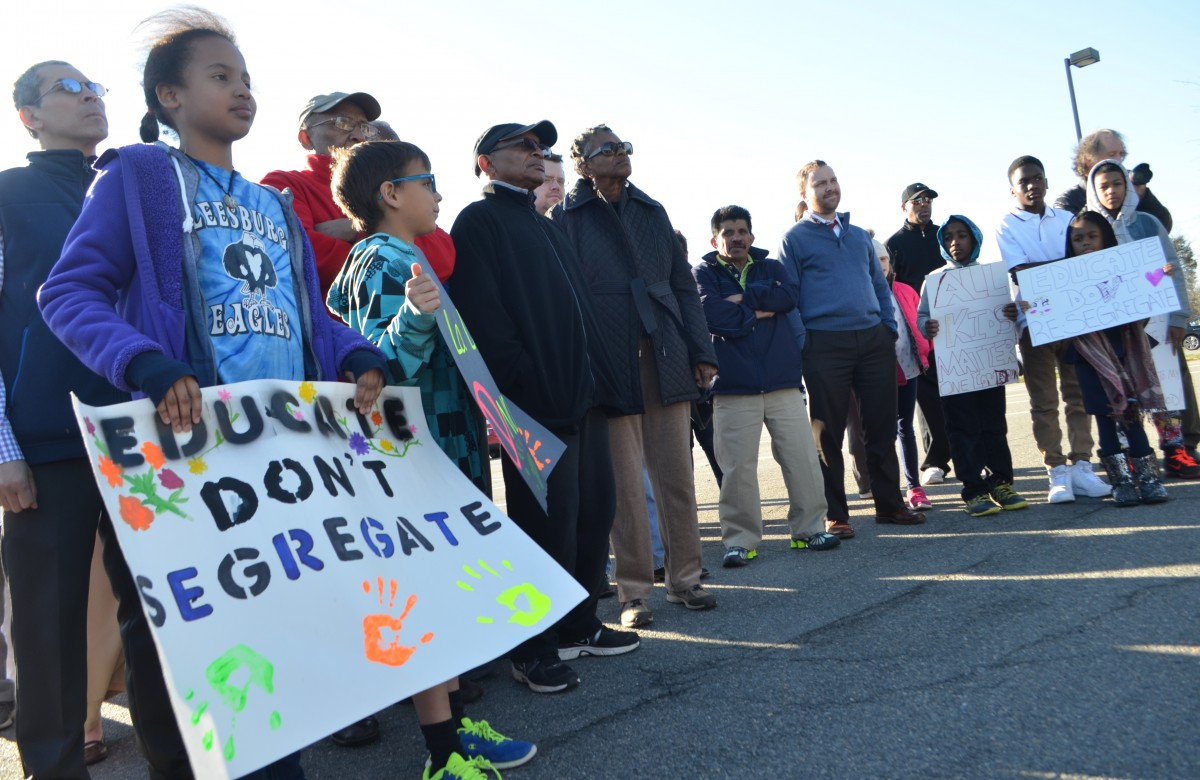 Members of NAACP hosted a rally ahead of the boundary vote Tuesday. (Danielle Nadler/Loudoun Now)