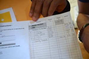"Tavious Lane's ""budget,"" as part of the Reality Store. (Danielle Nadler/Loudoun Now)"