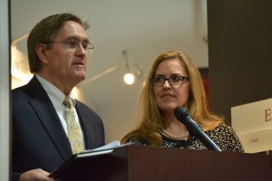 Del. Randy Minchew and Sen. Jennifer Wexton discuss legislative efforts to combat opiate abuse during a March 18 town hall meeting in Leesburg.