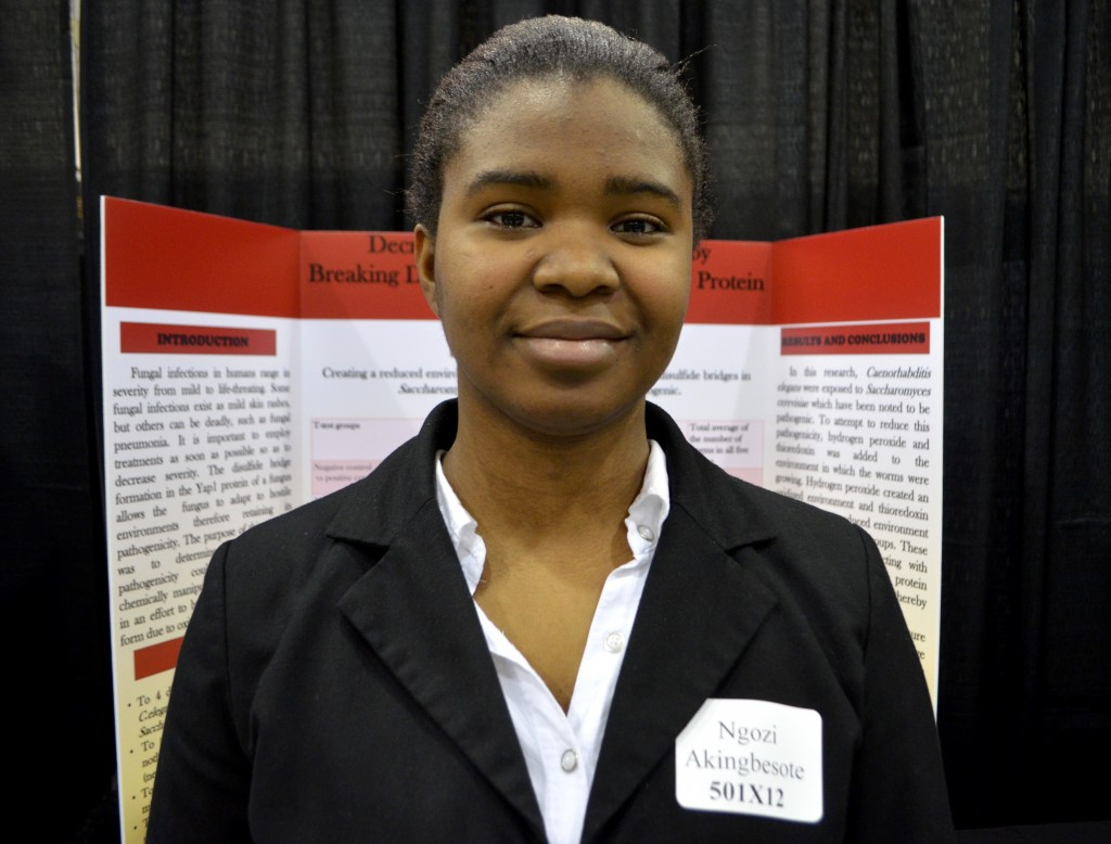 Dominion High School senior Ngozi Akingbesote at the Loudoun County Regional Science and Engineering Fair Thursday. (Danielle Nadler/Loudoun Now)