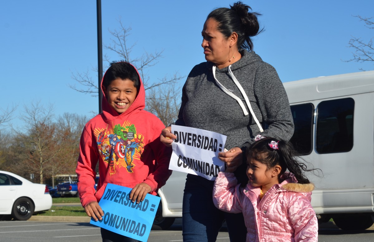 Ball's Bluff Elementary School student Junior Ramirez attends the rally Tuesday ahead of the School Board's boundary map adoption. (Danielle Nadler/Loudoun Now)