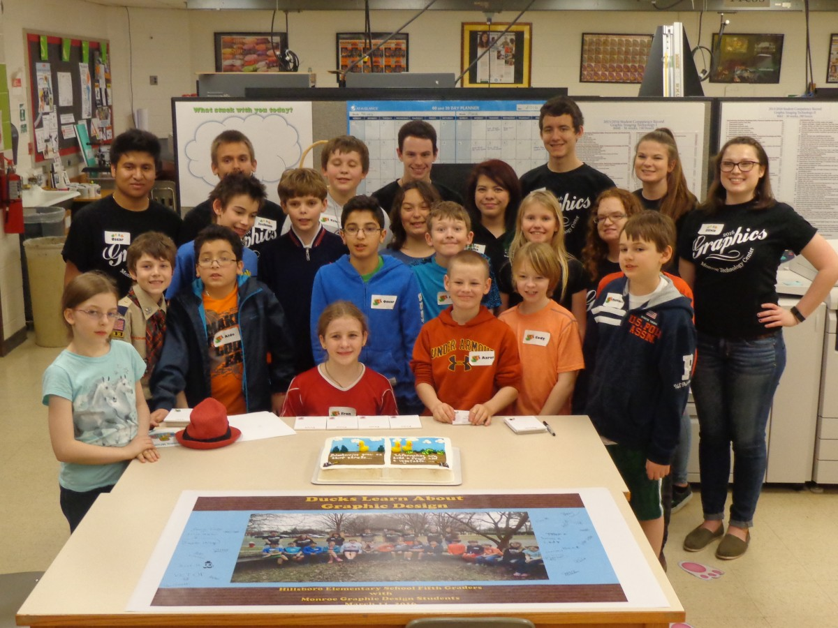 """Students from Hillsboro Elementary celebrate the publication of their book """"Ducks Learn About Farming"""" with seniors at Monroe Technology Center. (Courtesy of Pam Smith)"""